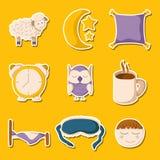 Cartoon sleeping icons. Set of cute cartoon icons on sleep theme. Vector insomnia concept. Cartoon sleeping objects: bed, lune, sheep, pillow, owl, sleeping mask Stock Photo