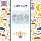 Cartoon sleeping icons. Vector background with cute cartoon objects on sleep theme. Vector insomnia concept. Cartoon sleeping objects: bed, lune, sheep, sleeping Royalty Free Stock Image