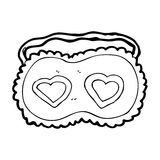cartoon sleeping mask with love hearts Royalty Free Stock Images