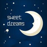 Cartoon sleeping moon. Pretty cartoon moon sleeping in the night sky with stars vector illustration