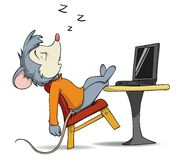 Cartoon sleeping mouse on chair with laptop Stock Image
