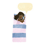 cartoon sleeping woman with speech bubble Royalty Free Stock Image