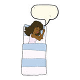 cartoon sleeping woman with speech bubble Stock Photos