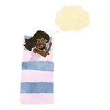 cartoon sleeping woman with thought bubble Royalty Free Stock Photography
