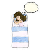 cartoon sleeping woman with thought bubble Stock Photography