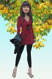 Cartoon slender woman standing with a jacket in hand Royalty Free Stock Photo