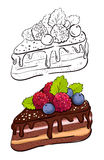 Cartoon slice of cake. Royalty Free Stock Photography