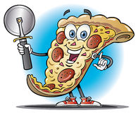 Cartoon slice of pizza holding a pizza cutter. Cartoon illustration of a slice of pizza holding a pizza cutter in front of a simple circular blue background vector illustration