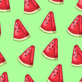 Cartoon slices of watermelon with seeds on a green background. Bright Seamless pattern. Vector illustration vector illustration