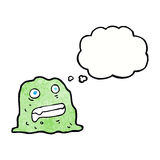 Cartoon slime creature with thought bubble Royalty Free Stock Photography