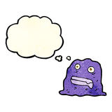 Cartoon slime creature with thought bubble Royalty Free Stock Images
