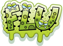 Cartoon Slimy Flu Bug Text Royalty Free Stock Photos