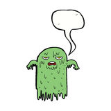 Cartoon slimy ghost with speech bubble Royalty Free Stock Photo