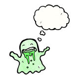 Cartoon slimy ghost with thought bubble Stock Image