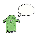 Cartoon slimy ghost with thought bubble Stock Photos
