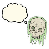 Cartoon slimy skull with thought bubble Royalty Free Stock Photos