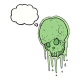 Cartoon slimy skull with thought bubble Stock Photos
