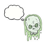 Cartoon slimy skull with thought bubble Royalty Free Stock Photo