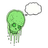 Cartoon slimy skull with thought bubble Royalty Free Stock Photography