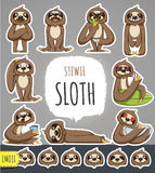 Cartoon Sloth Character. Emoticon Stickers Stock Photos