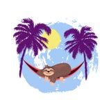 Cartoon sloth is sleeping in hammock under palm trees stock illustration