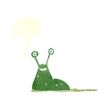 cartoon slug with speech bubble Royalty Free Stock Images