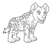 Cartoon small animal - hyena - coloring page Stock Images