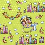 Cartoon small animals on seamless green background Royalty Free Stock Photos