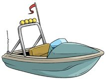 Cartoon small blue motor boat with flag stock illustration