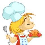 Cartoon small girl holding Thanksgiving Turkey on a tray. Vector illustration of teenager girl preparing turkey Royalty Free Stock Photography