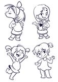 Cartoon small girls set. Vector  illustration of outlined cartoon girls dancing, kissing, presenting Stock Photography
