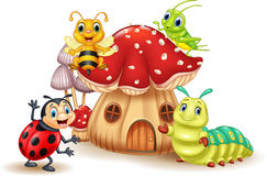 Cartoon small insect with mushroom house. Illustration of Cartoon small insect with mushroom house Royalty Free Stock Photos