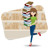 Cartoon smart girl carrying pile of book in library Stock Image