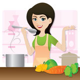 Cartoon smart girl cooking vegetarian soup in kitchen Royalty Free Stock Image