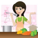 Cartoon smart girl cooking vegetarian soup in kitchen. Illustration of cartoon smart girl cooking vegetarian soup in kitchen Royalty Free Stock Image