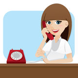 Cartoon Smart Girl Using Telephone Royalty Free Stock Images