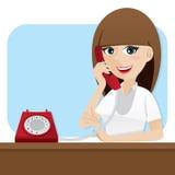 Cartoon smart girl using telephone Royalty Free Stock Images