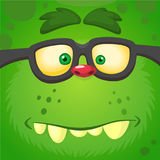 Cartoon smart zombie wearing glasses. Vector illustration of furry green monster. Royalty Free Stock Photography