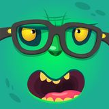 Cartoon smart zombie wearing glasses. Vector illustration of furry green monster Royalty Free Stock Photography
