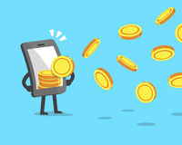 Cartoon smartphone attracting money coins Stock Photography