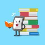 Cartoon smartphone character and books Stock Photo