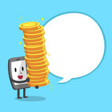 Cartoon smartphone character carrying big money stack with white speech bubble. For design Stock Photos