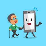 Cartoon smartphone character helping old man to walk. For design royalty free illustration