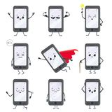 Cartoon smartphone character. Mobile phone mascot with hands, legs and smiling face on display. Happy smartphones vector royalty free illustration
