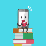 Cartoon smartphone character reading a book Stock Image