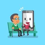 Cartoon smartphone character reading book with senior man Stock Photos