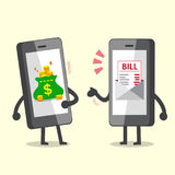 Cartoon smartphone with electronic bill payment call money from smartphone with money bag Royalty Free Stock Images