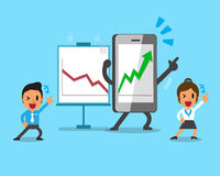 Cartoon smartphone help business people to make more profitable Royalty Free Stock Photos