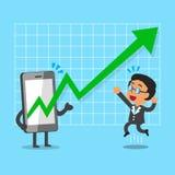 Cartoon smartphone help businessman to make more profitable Stock Photos