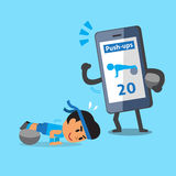 Cartoon smartphone helping a man to do ball exercise push-ups Stock Images